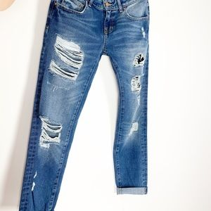 ZARA Ripped Distressed Boyfriend Jeans Medium Rise